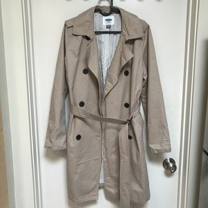 Old Navy Beige Trench Coat Jacket w Belt Size S/P